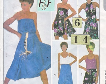 Easy Quick Summer Wrap Dress, Skirt Sewing Pattern/ McCall's 7525 Vintage Women's Halter or Strapless Beach Dress/ Size 6 8 10 12 14