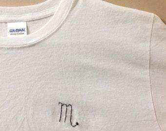 Zodiac Sign Stitched T-Shirt