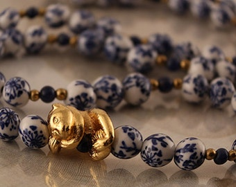 Vintage Alva Museum Replica Chinese Blue and White Porcelain Beaded Necklace with Panda Charm Pendant