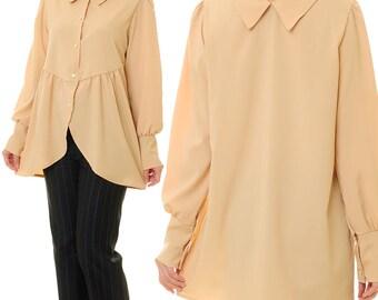 Long Sleeve Shirt Women | Beige Blouse | Long Sleeved Blouse | Reversible Blouse | Beige Tunic Top | Cotton Blouse | Beige Shirt 8048