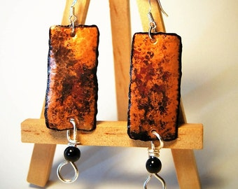 Copper earrings forged hammered handcrafted