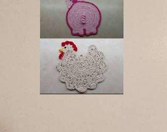 Awesome Deal! Crochet Chicken & Piggy Butt Potholder Patterns DIGITAL DOWNLOAD ONLY