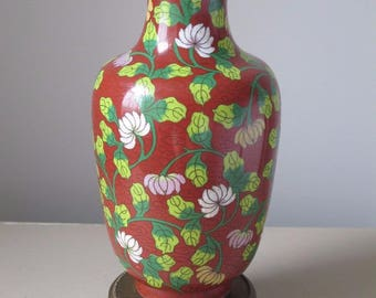 Antique Chinese Cloisonne Lamp with Ornate Filigree Metal Base