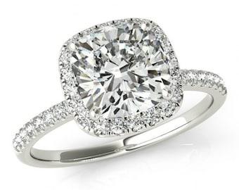 6.5mm Cushion Forever One Moissanite and Diamond Halo Engagement Ring - 14k White Gold - Engagement Rings for Women - Moissanite Ring