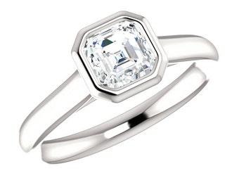 Asscher Cut Diamond Bezel Solitaire Engagement Ring 14k, 18k or Platinum, Asscher Diamond Ring, Asscher Cut Ring, Diamond Wedding Rings