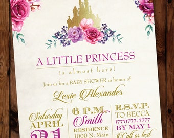 Princess Baby Shower Invitation/Little Princess Invitation/Baby Princess Invite/Fairytale Invitation/Castle Baby Shower Invitation