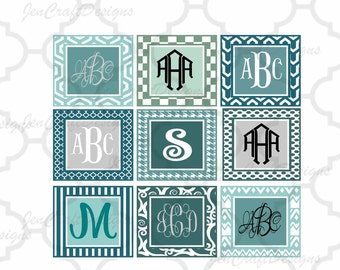 Patterned square monogram frames set Svg Eps Png Dxf, Cricut Design Space, Silhouette Studio, Digital Cut Files Instant download