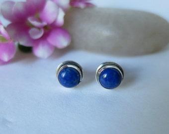 Lapis lazuli stud earrings set in 92.5 sterling silver