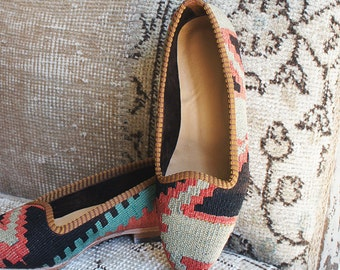 Kilim shoes, Kilim Loafer, Vintage Kilim shoes, Boho Chic shoes, Womens shoes