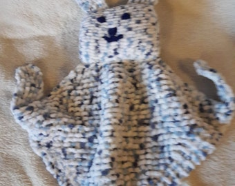 Snuggle Bunny, knitted children's blankie, baby gift, Christmas, Xmas, infants, baby shower