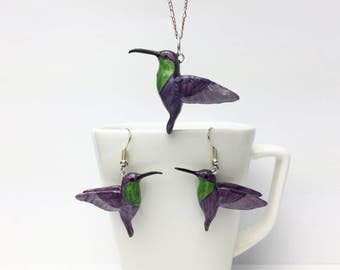 Violet-crowned Woodnymph (Thalurania colombica) set of earrings and pendant