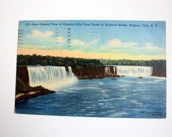 Linen postcard / Niagara Falls Postcard 1957 /  Waterfalls postcard / American Falls