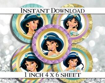 """INSTANT Download, Princess Jasmine 4x6 Digital 1"""" Inch Bottle Cap Image/Digital Collage sheet"""