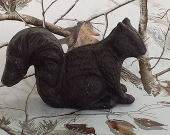 Dark Brown Cast Iron Squirrel~Squirrel Statue~Vintage Cast Iron Statue~Forest Animal~Squrrels~Collectable Animal~Heavy Cast Iron~