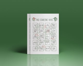 Wedding game ''find someone who..'', wedding icebreaker for guests, reception game, reception game in green color, printable bingo