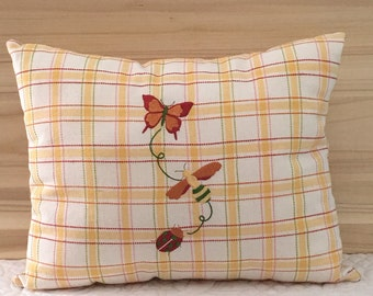 Upcycled Tea Towel Pillow with embroid