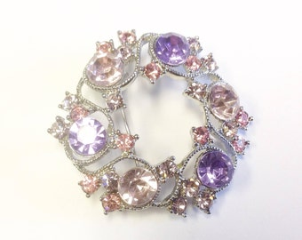 Vintage, 1950s -1960s, pink and lilac paste pendant or brooch.