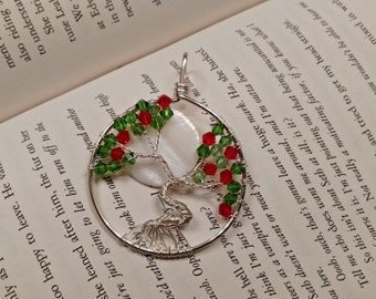 Christmas Tree of Life Pendant, Christmas Jewelry, Holly, Red and Green Tree of Life, Full Moon Tree of Life Pendant, Wire Pendant, Necklace