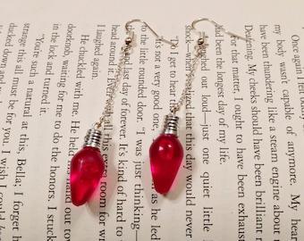 Light Bulb Chain Earrings, Long Dangle Earrings, Christmas Light Earrings, Holiday Earrings, Red Christmas Earrings