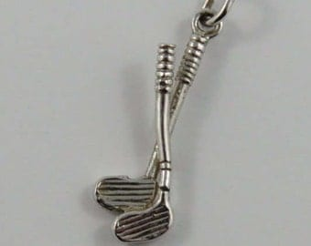 Pair of Golf Clubs Sterling Silver Vintage Charm For Bracelet