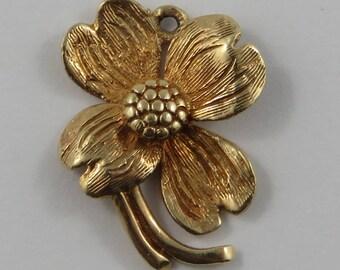Flower 10K Gold Vintage Charm For Bracelet