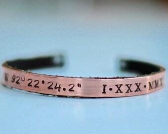 Coordinate Jewelry - Coordinates Bracelet - Coordinates Bracelet Men - GPS Coordinates Cuff - Personalized Coordinates Bracelet - Copper