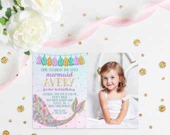 Mermaid Birthday Invitation, Mermaid Photo Invitation, Mermaid Invite, Mermaid Invitation, Mermaid Party, Purple & Gold, The Little Mermaid