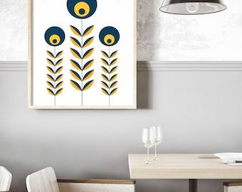 Retro Nordic Flower Print, Mid Century Modern Art - Scandinavian Design, Modern Minimalist Wall Art, Folk Pattern Art- Instant Download