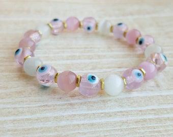 Pink Wife Gift Pink Bracelets for Women |FREE US SHIPPING| Evil Eye Bracelets Hipster Bracelets Women Good Luck Bracelet Protection Bracelet