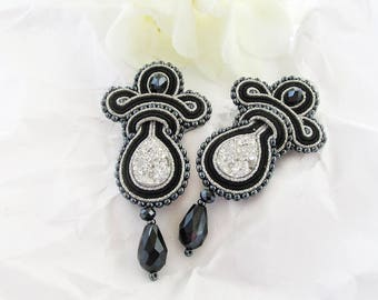 Black silver earrings Druzy jewelry Soutache luxury earrings Black wedding Gifts for mom Special occasion Evening earrings Gift idea for her