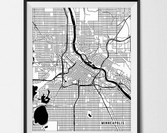 Minneapolis Map Print, Minneapolis Art Poster Custom City Map Art Minneapolis Minnesota Map of Minneapolis Gift State Map Decor