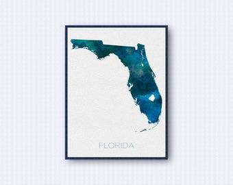 Florida Map Watercolor Poster, United States Map Print, Blue Version