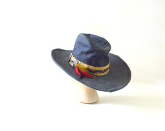 Vintage Denim Western Hat