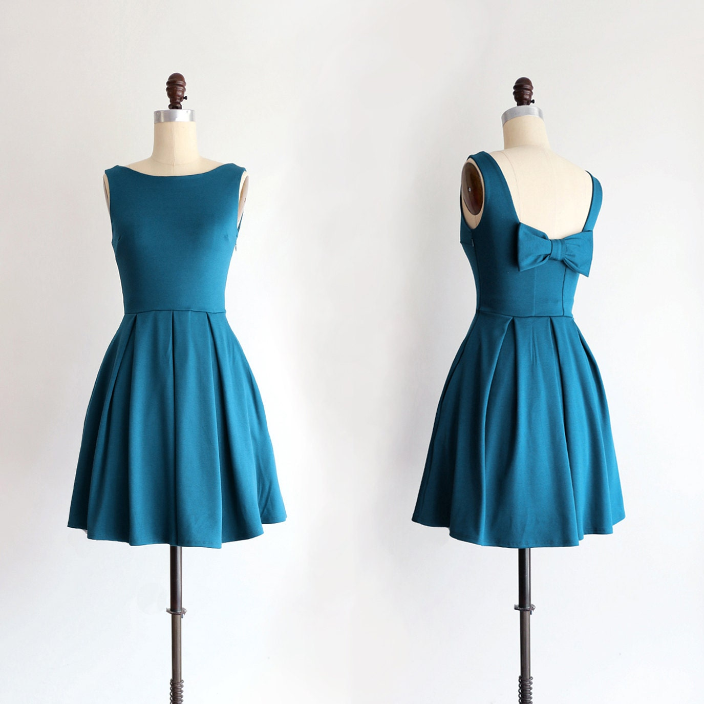 Pre order january teal bridesmaid dress with bow vintage zoom ombrellifo Image collections