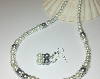 White Grey Glass Pearl Beaded Jewellery Set, Necklace Earrings Gift Set, Mothersday Gift, Silver Handmade Costume Jewellery, Bridesmaid Gift