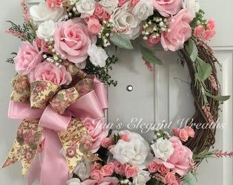 Rose Wreath, Victorian Wreath, Front Door Wreath, Pink Rose Wreath, Elegant Rose Wreath, Romantic Rose Wreath, Elegant Door Wreath