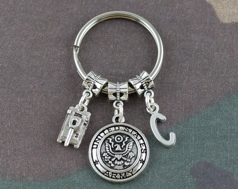 Personalized Army Tank Keychain//Army Tanker Truck Key Chain//Army Keychain//Army Car Accessories For Him Or Her//Military Gifts Under 20