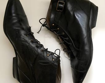 Janey Boots | vintage black leather lace-up boots