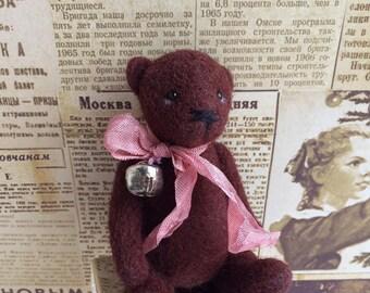 Felted Teddy bear. Bear made of wool. Мишка валяный. Мишка из шерсти. Войлочный медведь. Мишка с бантом