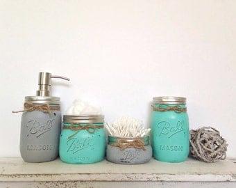 Turquoise & Light Grey 4 Pc. Mason Jar Bathroom Set with Twine