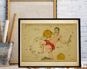 The constellation Map, Astrology, Vintage Celestial  Map, The constellations Aquarius, Piscis Australis and Ballon Aerostatique, Old Map