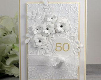 50th Anniversary Card - Luxury 50th Wedding Annniversary Card - Happy Anniversary Card - Greeting Card - 3D Card - Fancy Card - Luxury Card