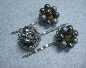 vintage hair pins, bobby pins, bobbies, grips slides, set of 3, gray, bridesmaids wedding, recycled upcycled, repurposed reclaimed /hp130