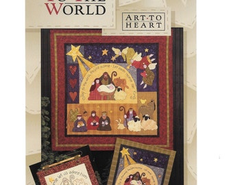 Joy to the World  Quilt, Rejoice Quilt,  Patchwork, Nancy Halvorsen, Art to Heart Pattern, Folk Christmas, Applique, Natitity Quilt,  Uncut