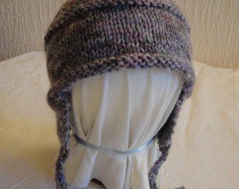 baby girl earflap hat, lilac mix baby cap, baby hat 6-12 months, elfin baby hat, hat for baby, Italian yarn baby cap, cap with chin ties