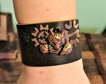 COPPER FOX, STEAMPUNK, renaissance, forest, leather, wrist cuff, bracelet