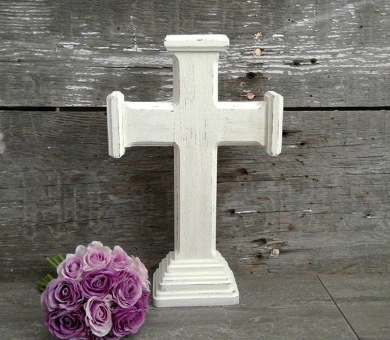 Wood cross rustic white mantel table altar
