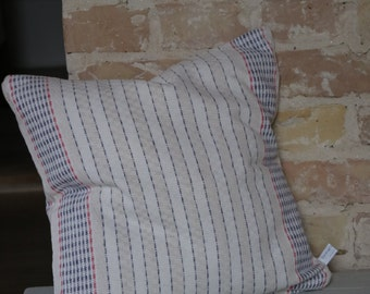 pillow from antique linen: red blue stripes / 40*40cm