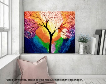 Landscape painting, Abstract Tree Palette knife, Acrylic Contemporary Impasto painting, Colorful Modern wall art, Home decor, MADE TO ORDER.