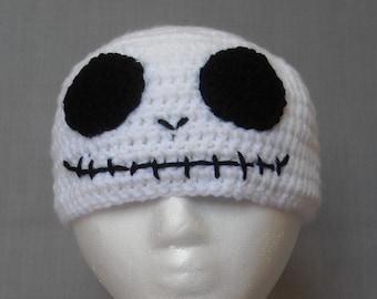 crocheted black and white skull winter beanie